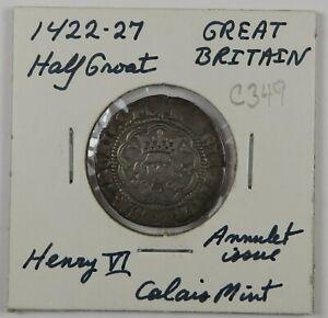 C349 England, AR Half Groat of Henry VI, 1422-27, Annulet Issue, Calais Mint D