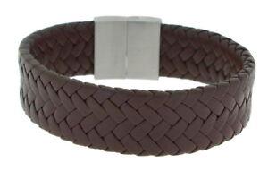 Clochard Fashion Bracelet Leather Braun Braided Stainless Steel Magnetic Closure