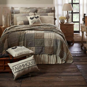 CAL KING Size Patchwork Rustic Country 100% Cotton Hand Quilted Farmhouse Quilt