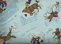 Ride Em Cowboy 2 blue retro western broncos Kaufman  fabric
