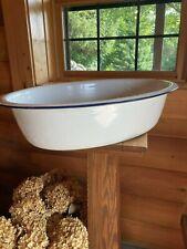 Vintage Large White Enamel Porcelain Wash Basin Tub