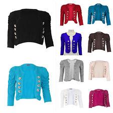New Womens Ladies Ruched Shoulders 8 Button Blazer Crop Top Bolero Shrug Jacket