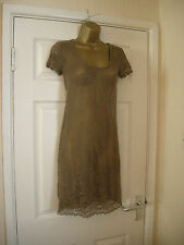 10 REDOUTE SHEER LACE DRESS COFFEE + COTTON SLIP SUMMER BEACH COVER UP DRESS