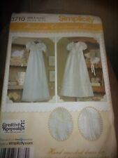 Smocked Christening Dress, hat, Baptism, bonnets, Simplicity 3710, Sizes XS-L,