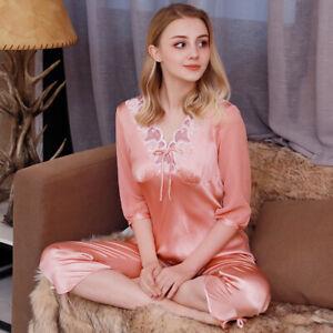 New Women Silk Pajamas Set,2 pieces,100% Mulberry Silk Sleepwear Nightwear U7768