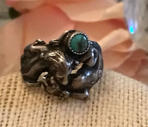 sterling silver lion ring turquoise stone 925 size 9.5 mens womens animal