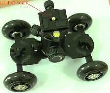 NEW Black Dolly kit 22 lbs Skater wheel Camera Truck with Tripod Ball Head
