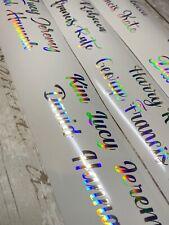 PERSONALISED IRIDESCENT SILVER Name X10 Stickers Vinyl Wine Glass Hen Wedding #3
