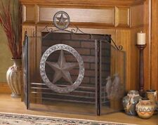 Texas country western folding 3 panel hearth portable mesh fire fireplace screen