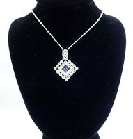 Estate Diamond and Sapphire Necklace 14k white gold