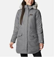 COLUMBIA Suttle Mountain down insulated long hooded women's jacket Grey-MEDIUM
