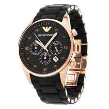 AUTHENTIC EMPORIO ARMANI ROSE GOLD,BLACK SILICONE WRAPPED BRACELET WATCH AR5905