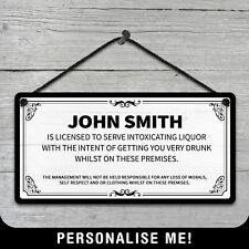 Personalised Hanging Bar Licence Sign Metal Plaque Pub Kitchen Vintage Wine Beer