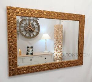 "John Lewis Gold Mosaic Wall Mirror Wood Frame Bevelled 106x76cm 42""x30"""