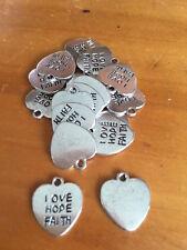 Tibetan Silver LOVE HOPE FAITH Heart Charm / Pendant x 15
