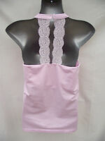 BNWT Womens Sz 12 - 14 Bella B Wear Pink Halter Style Soft Stretch Lace Trim Top