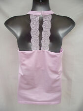 BNWT Womens Sz 12/14 Bella B Wear Pink Halter Style Soft Stretch Lace Trim Top