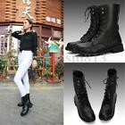 Women Cool Punk Knight Military Army Lace-up Short Martin Boots Flat Shoes Black