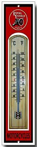 ROYAL ENFIELD MOTORCYCLES ENAMELLED METAL AND WOOD THERMOMETER,BRIT MOTORCYCLES