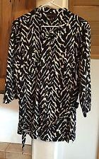 Dana Buchman belted tunic long top blouse animal print size XL 3/4 sleeve