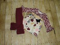 Fall Girls Outfit 12M 18M 24M 2T 3T 4T Cranberry Icing Floral Set Boutique RTS
