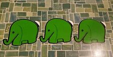3 Stück Elefant Sticker Aufkleber grün Dresdner Bank 70er Jahre Colani