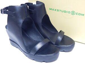 Max Studio Zine Sz US 8.5 M Women's Leather Wedge Platform Sandals Black 5S02352