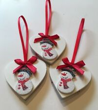 3 X Snowman Christmas Decorations Handmade Shabby Chic Real Wood Red White