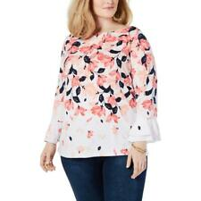 Charter Club Womens White Floral Bell Sleeves Blouse Top Shirt Plus 2X BHFO 9659