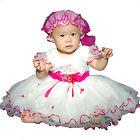 NUEVO Bautismo de bebé vestido de fiesta con gorro 0-3 3-6 6-9 9-12 meses in 6