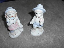 CERAMIC BOY & GIRL FIGURINES WITH BLUE HATS