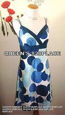 ANN TAYLOR Womens Cotton Blue White Circle Print dress Spaghetti Straps Size 4
