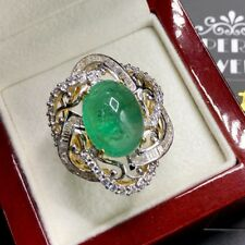 HUGE! 13.89TCW Emerald & VS Diamonds 18k solid yellow gold ring natural cabochon