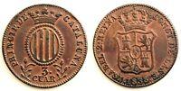 Spain-ISABEL II. 3 Cuartos. 1838. Cataluña. MBC+/VF+. Cobre 7,2 g.