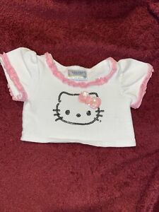 Build a Bear Clothing White Fuchsia Pink Hello Kitty Top Tee T-shirt Sequin