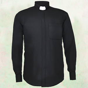 Men's *BLACK* Long Sleeves Tab Collar Clergy Clerical Minister Priest Shirt