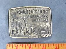 Brass FARMHAND American Agriculture Brass Belt Buckle Tractor