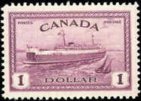 1946 Mint H Canada VF Scott #273 $1.00 Train Ferry Issue Stamp