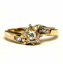 14k yellow gold .24ct round diamond cluster halo engagement ring  2.5g antique