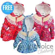 New Girls WARM Winter Jacket Padded Coat Hooded Lined Size Pink, Blue, Red