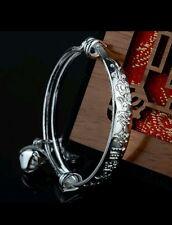 1 X Baby Silver Bangle Bracelet Adjustable Boy Girl 0-6 Years Birthday Gift Bag