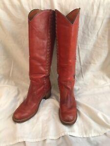 Vtg FRYE Vintage Cowboy Riding Boots Tall Knee High Burgundy Women's Sz 6.5 B