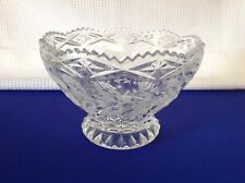 """Vintage Imperlux Crystal Bowl Footed Sawtooth Roses Centerpiece 4"""" Germany"""