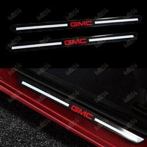For GMC Carbon Fiber Car Door Welcome Plate Sill Door Scuff Cover Panel Sticker