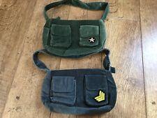 Women's Next X2 small velour handbags grey & military green