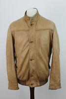 MASSIMO DUTTI Tan Leather Jacket size XL