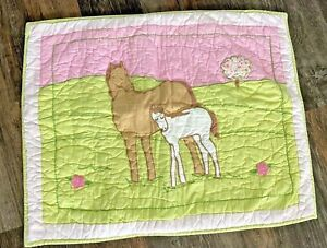 Company Store Pony Standard Pillow Sham Horse Girls Room Quilted Pink Pastels