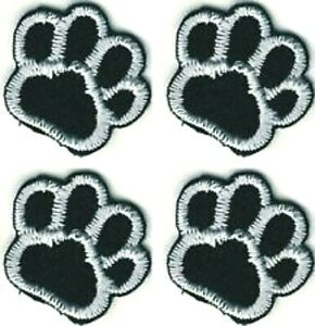 Lot of 4 Black White Dog Animal Paw Print Embroidery Patch