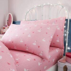 PRINCESS SWANS SINGLE FITTED SHEET & PILLOWCASE SET KIDS GIRLS PINK