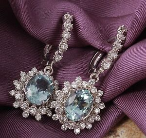 9.60Ct Natural Aquamarine and Diamond 14K Solid White Gold Earrings